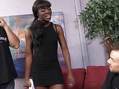 Horny black chick Ana Foxxx deepthroats and hardcore fucked at the same time with two white schlongs