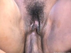Slutty pitch-black bitch Insatiable creams his pitch-black dick with her thick vagina juice