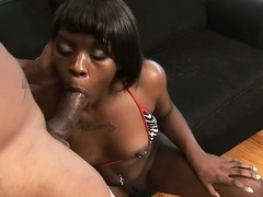 Two studs make an ebon slut moan in a hot interracial threesome