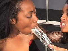 Juicy black lesbians make each other moan while they do hard time