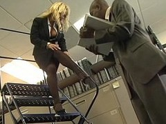 Breasty golden-haired office girl gets fucked overwrought black cock
