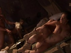 Two Sexy Asians and a Blond Getting Fucked In Their Uniforms In Fuckfest